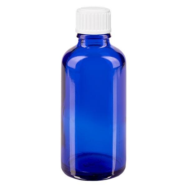 Blauwe glazen flessen 50ml met wit schroefsluiting globuli uitgietring St