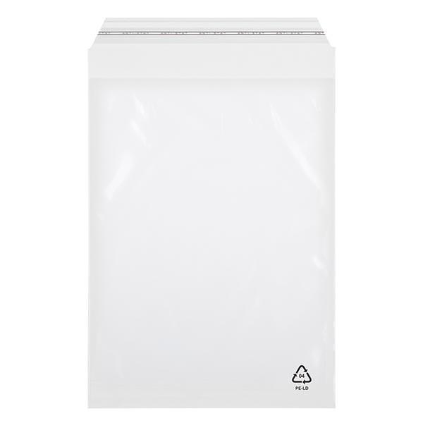 100 zakken met zelfklevende sluiting 250x350 mm met afgeschuinde flap 50 mm dikte: 70 mµ