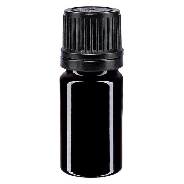 Violetglas fles 5ml DIN 18 met zwart schroefsluiting uitgietring VR