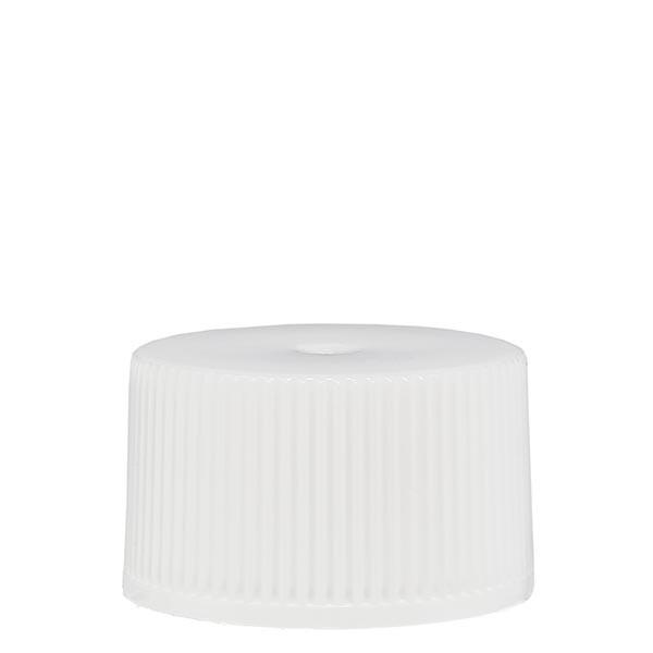Schroefsluiting 25 mm wit PP met standaard met afdichting