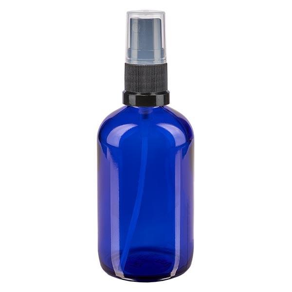 Blauwe glazen flessen 100ml met zwart pompverstuiver