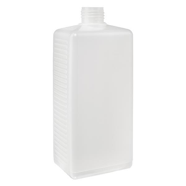 Hoekige fles 250ml PE blank ND 25, zonder deksel
