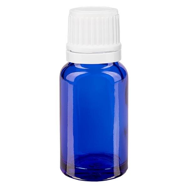 Blauwe glazen flessen 10ml met wit sluiting OV
