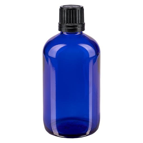 Blauwe glazen flessen 100ml met zwart schroefsluiting uitgietring VR