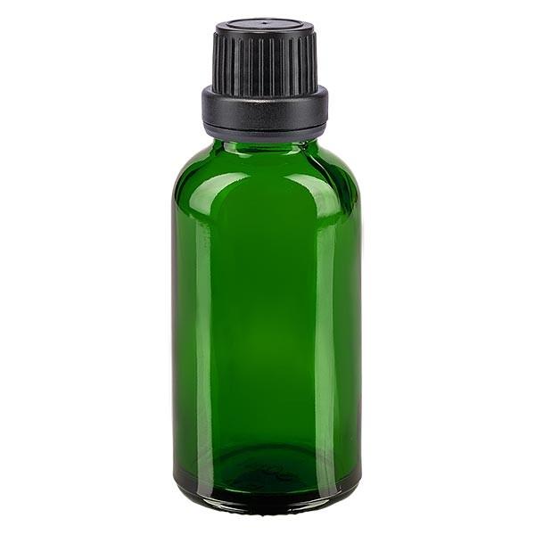 Groenen glazen flessen 30ml met zwart schroefsluiting dicht. VR