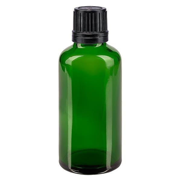 Groenen glazen flessen 50ml met zwart schroefsluiting uitgietring VR