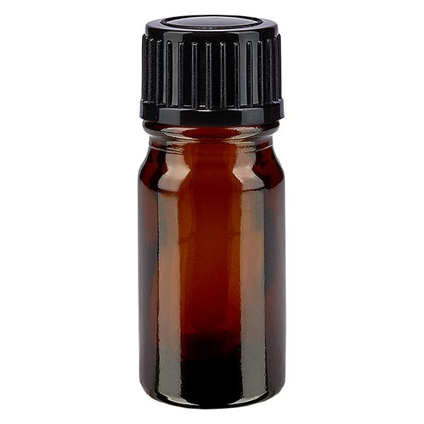 Bruine glazen fles 5ml met zwart druppelsluiting 1mm VR