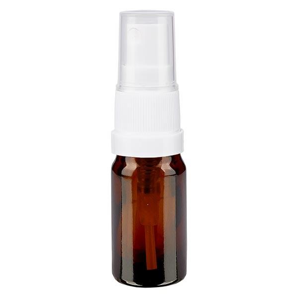 Bruin glazen flessen 5ml met wit pompverstuiver