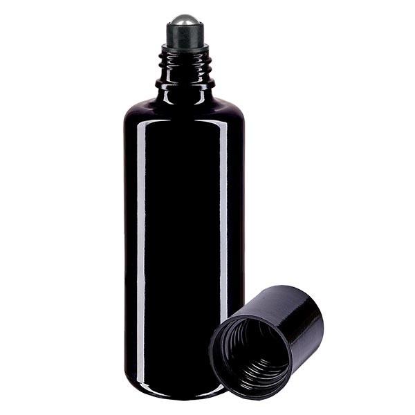 Glas deostick fles violet 50ml, lege deo roller (Roll On)