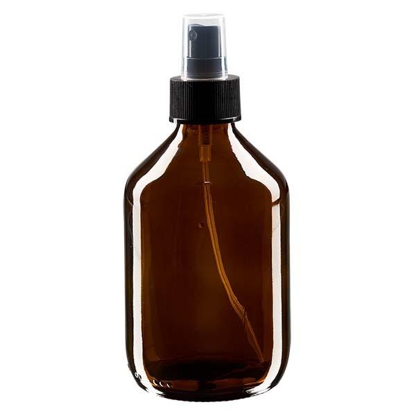 300ml Euro-medicijnfles bruin met verstuiver zwart incl. dop transparant