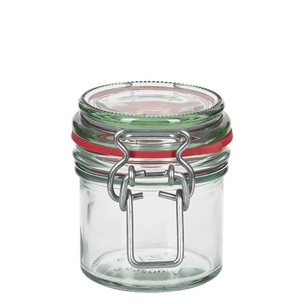 135 ml glas met draadbeugel / spanbeugelglas rond, geschikt voor pasteurisatie