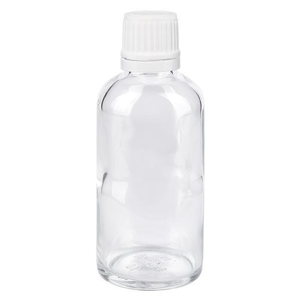 Helder glazen flessen 50ml met wit druppelsluiting 1.2mm VR