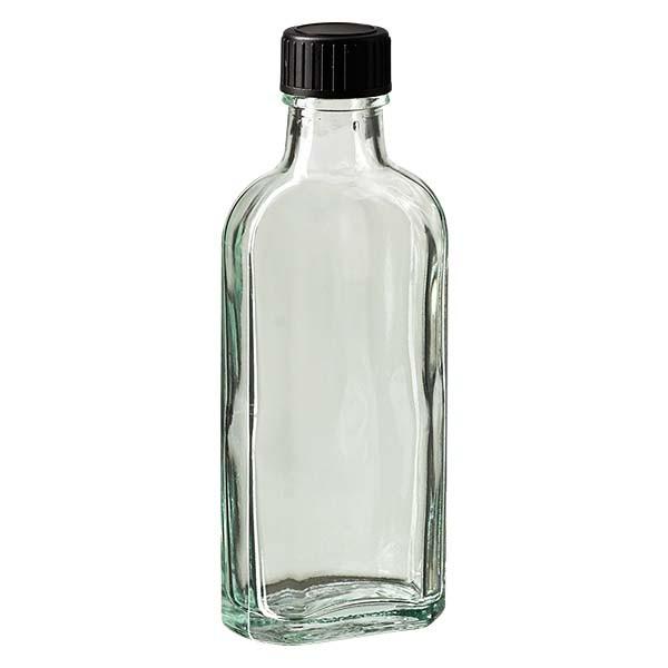 100 ml witte meplatfles met DIN 22 monding, inclusief schroefsluiting DIN 22 zwart van EPE
