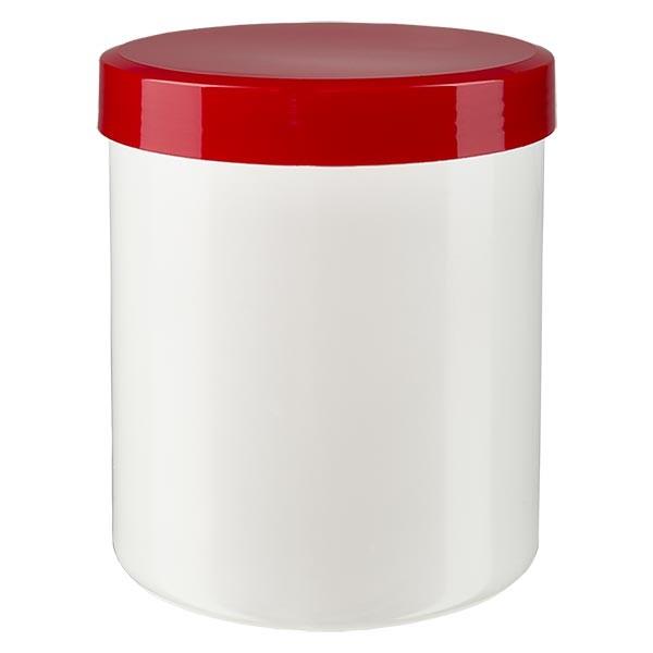 Zalfpot 200 g wit met rood schroefdeksel (PP)