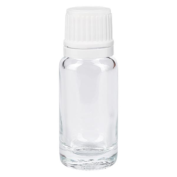 Helder glazen flessen 10ml met wit druppelsluiting 1.2mm VR