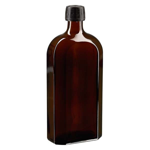 500 ml bruine meplatfles met PP 28 monding, inclusief schroefsluiting DIN 22 zwart van EPE