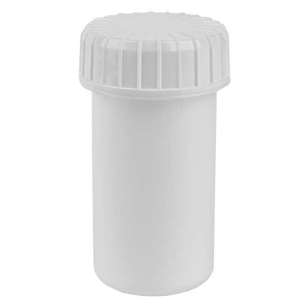 Kunststof pot 20 ml transparant met geribbeld wit schroefdeksel van PE, type sluiting Standaard