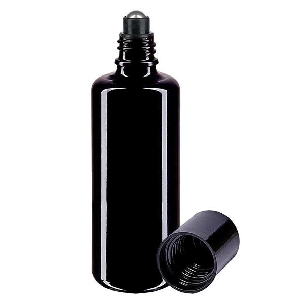 Glas deostick fles violet 100ml, lege deo roller (Roll On)