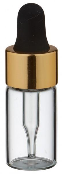 Mini pipetfles 3ml helder, schroefdraad M13 met druppelpipet PL28 goud/zwart