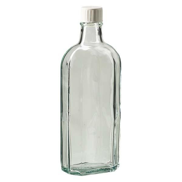 250 ml witte meplatfles met DIN 22 monding, inclusief schroefsluiting DIN 22 wit met gietring