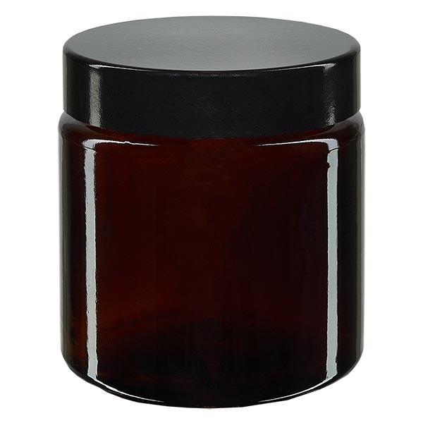 Glazen pot 120ml bruin glas 58mm/R3, met sluiting