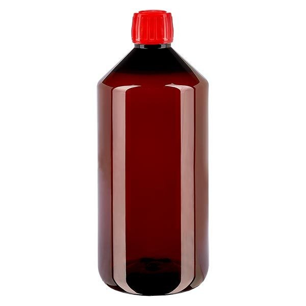 1000 ml PET medicijnfles met verstuiver zwart GCMI 28/410 incl. dop transparant, standaard