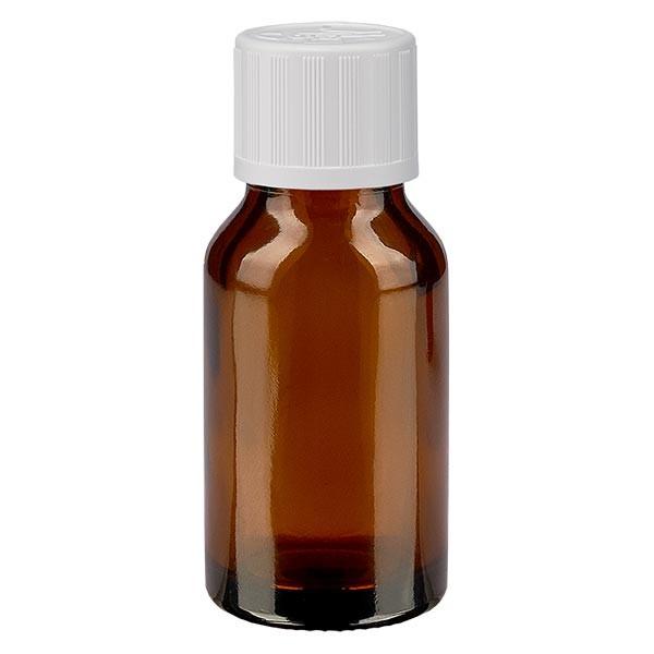 Bruine glazen fles 15ml met wit druppelsluiting kinderslot St