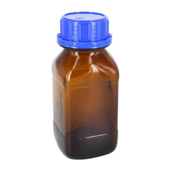 250 ml vierkante fles met wijde hals bruin glas, incl. schroefsluiting VR DIN45 blauw met cone afdichting