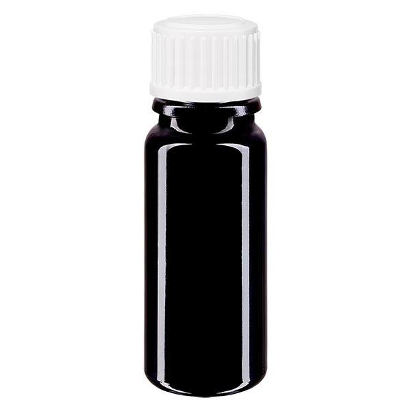 Violetglas fles 10ml DIN 18 met wit druppelsluitig 0.8mm St