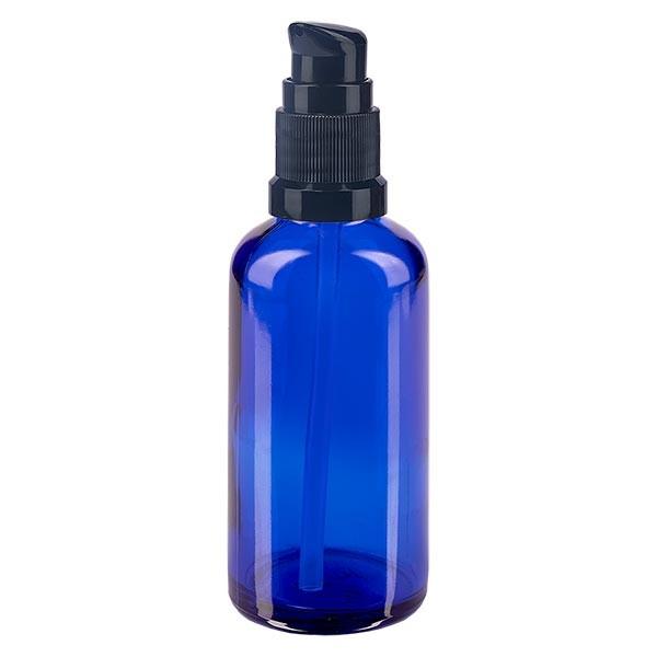 Blauwe glazen flessen 50ml met zwart pompsluiting