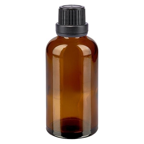 Bruine glazen fles 50ml met zwart schroefsluiting dicht. VR