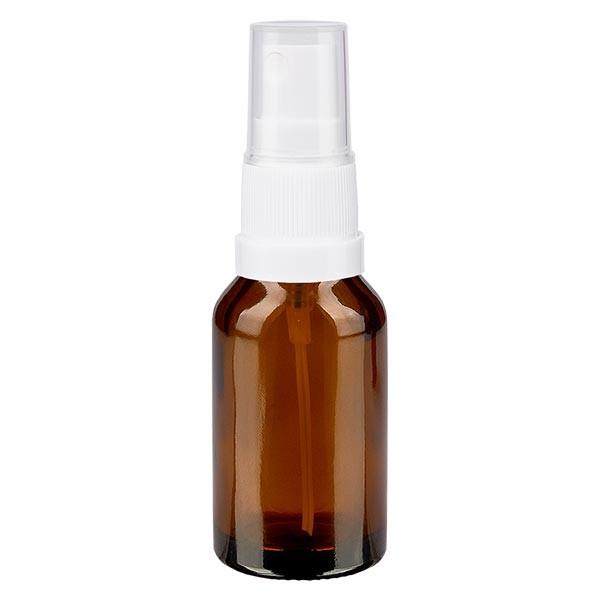 Bruin glazen flessen 15ml met wit pompverstuiver