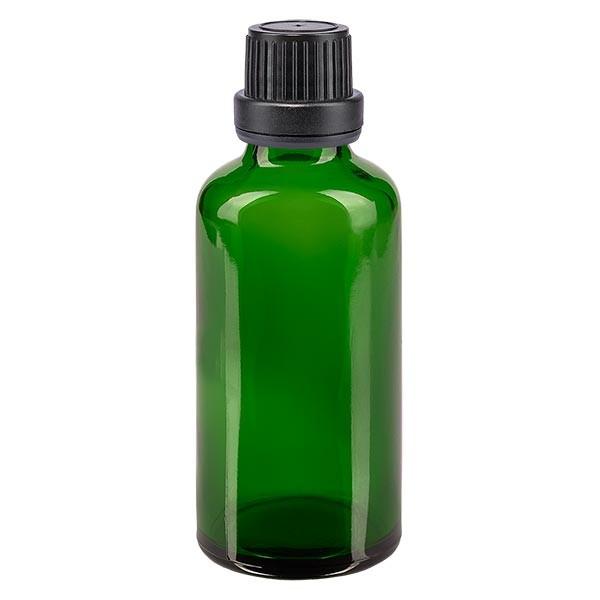 Groenen glazen flessen 50ml met zwart schroefsluiting dicht. VR