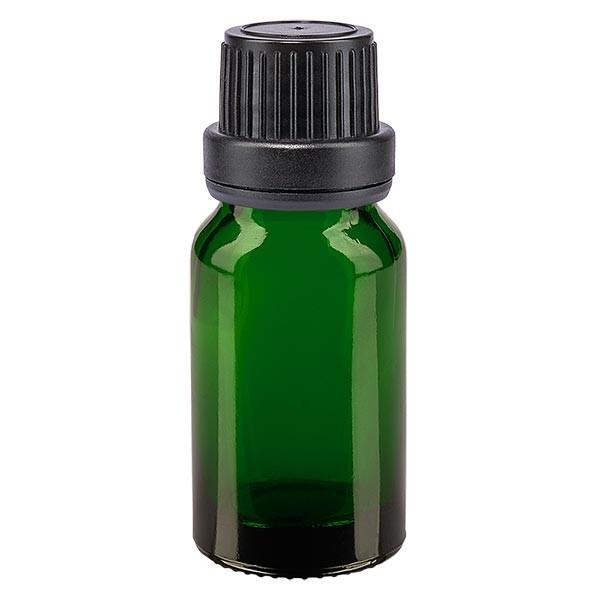 Groenen glazen flessen 10ml met zwart druppelsluiting 2mm VR