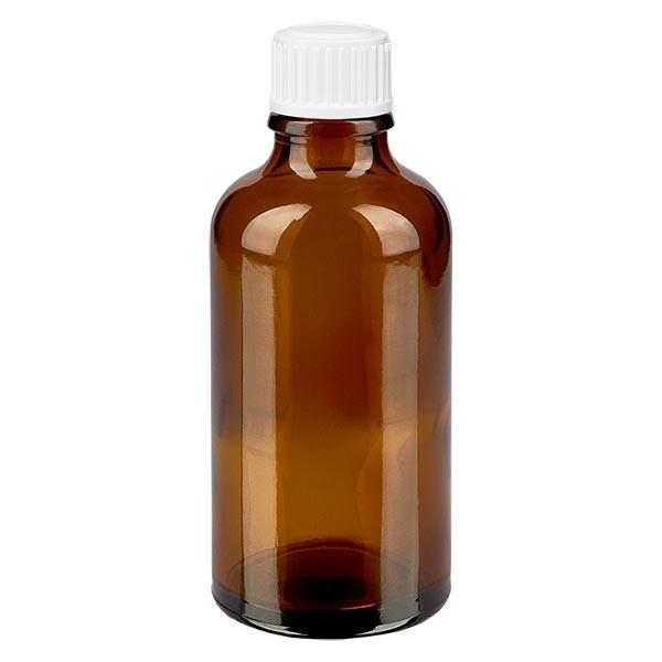 Bruine glazen fles 50ml met wit schroefsluiting globuli uitgietring St