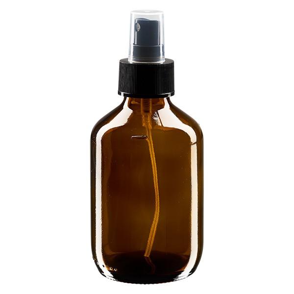 200ml Euro-medicijnfles bruin met verstuiver zwart incl. dop transparant