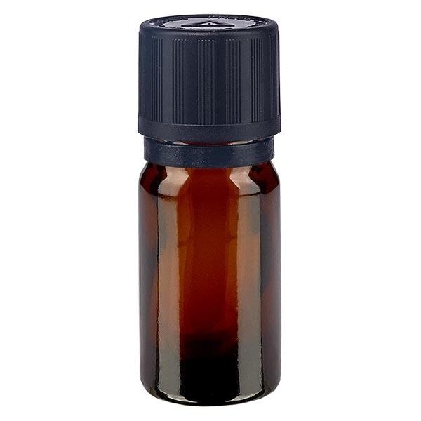 Bruine glazen fles 5ml met zwart druppelsluiting 1mm kinderslot Bliw. VR