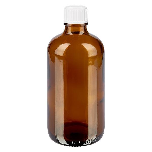 Bruine glazen fles 100ml met wit schroefsluiting globuli uitgietring St