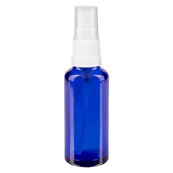 Blauwe glazen flessen 30ml met wit pompverstuiver