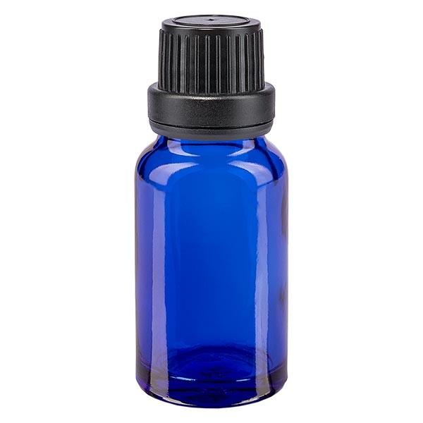 Blauwe glazen flessen 10ml met zwart sluiting OV