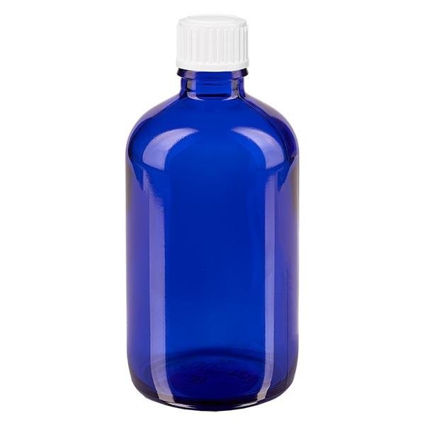 Blauwe glazen flessen 100ml met wit schroefsluiting globuli uitgietring St