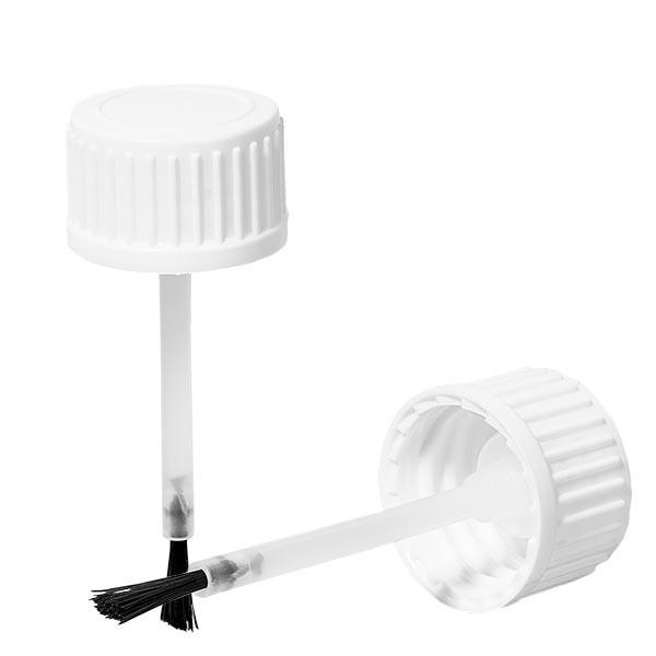 Schroefsluiting met kwastje wit 18 mm VR (voor 10ml fles)