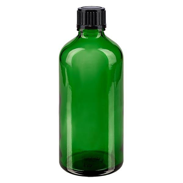 Groenen glazen flessen 100ml met zwart schroefsluiting St