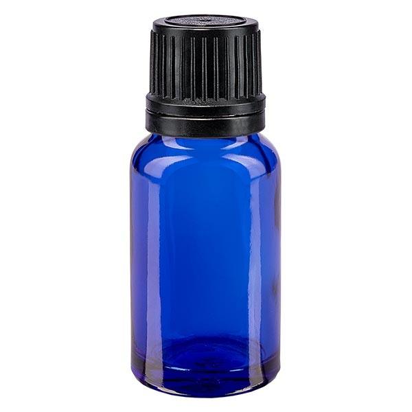 Blauwe glazen flessen 10ml met zwart sluiting OV gietring