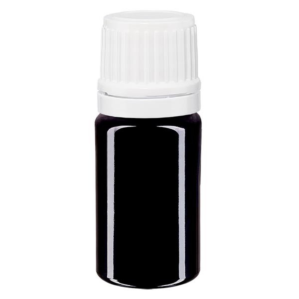 Violetglas fles 5ml DIN 18 wit druppelsluiting 1.2mm VR