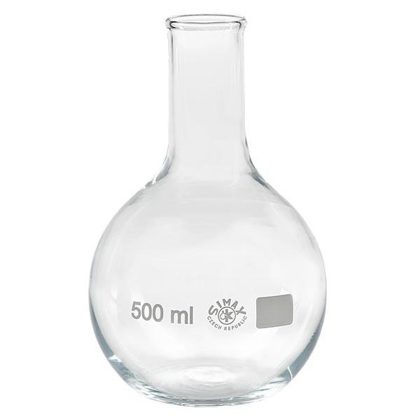 Platbodem kolf 500ml nauwe hals borosilicaat met afgeronde rand