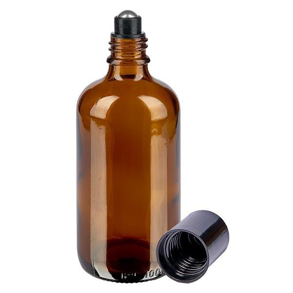 Glas deostick fles bruin 100ml, lege deo roller (Roll On)