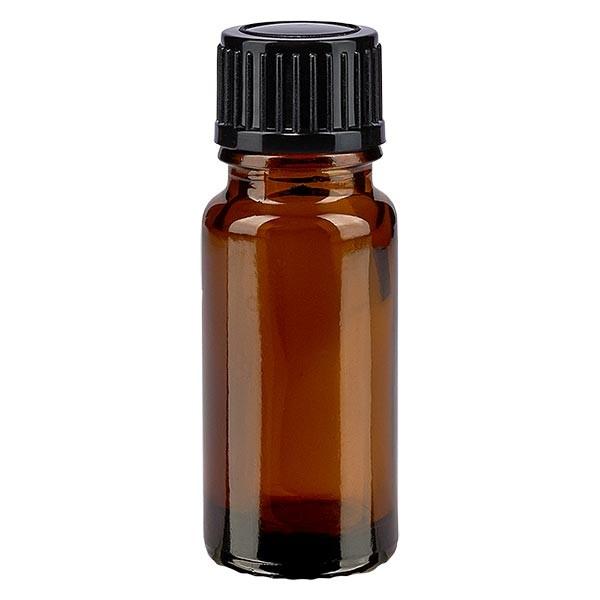 Bruine glazen fles 10ml met zwart druppelsluiting 1mm St