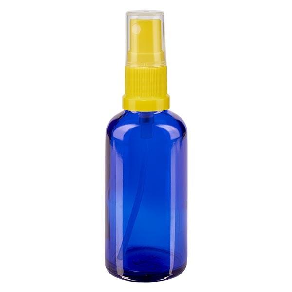 Blauwe glazen flessen 50ml met geel pompverstuiver