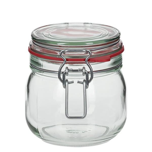 634 ml glas met draadbeugel / spanbeugelglas rond, geschikt voor pasteurisatie
